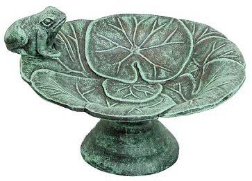 Frog and Lily Pad Tabletop Birdbath