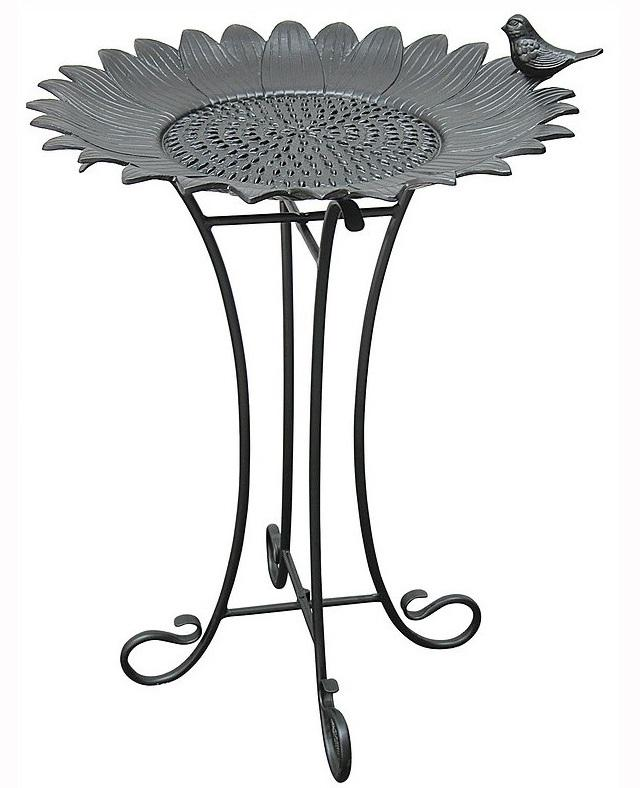 Sunflower Birdbath with Wire Stand