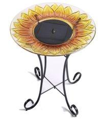 Solar Sunflower Glass Bowl Birdbath