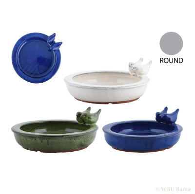 Ceramic Table Birdbath - Round