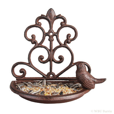 Cast Iron Wall Mounted Birdbath - Tall